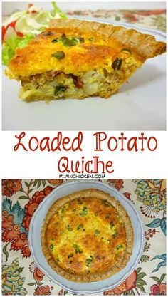 Loaded Potato Quiche - pie crust filled with diced potatoes, bacon, cheddar…