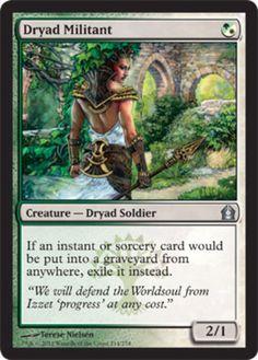 Dryad Militant mtg Magic the Gathering Return to Ravnica green white selesnya uncommon dryad soldier creature card