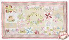 """Spring Tea: It's a tea party! This shabby style features both piecing and applique to create a lovely wallhanging. Pattern includes all instructions to make the 67"""" x 38"""" project."""