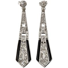 A Pair of Art Déco onyx and diamond Pendant Earrings (308 465 UAH) ❤ liked on Polyvore featuring jewelry, earrings, accessories, earring pendants, diamond jewellery, diamond earring jewelry, onyx earrings and diamond jewelry
