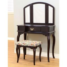 MegaHome Queen Ann Style Cherry Finish Vanity Set with Stool-MH201 - The Home Depot