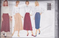 Vintage 1995 Butterick Classics Pattern 4100 Lower Calf Length Straight and A-Line Skirts in Four Styles Misses' Sizes 6-8-10-12