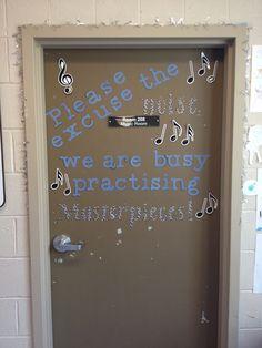 Music room door idea. Created using the Cricut machine.