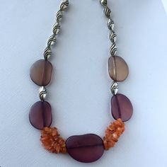 Carnelian statemnet necklace, large bead impressive necklace, silver toned beads by LunicaDesignJewelry on Etsy