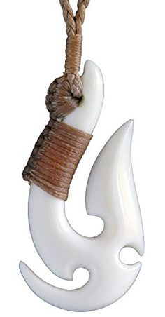 Maori Hand Made Matau (fish hook) Bone Carving Necklace from New Zealand