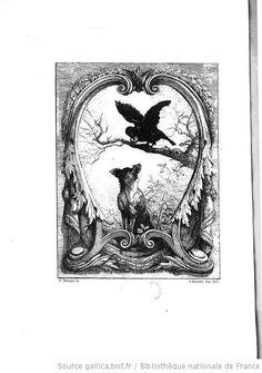 Gravure fables de La Fontaine : Le corbeau et le renard