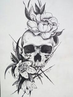 50 Skull Pencil Drawing Ideas – Art - New Sites Floral Skull Tattoos, Skull Tattoo Flowers, Skull Tattoo Design, Body Art Tattoos, Small Tattoos, Sleeve Tattoos, Tattoo Designs, Flower Skull, Flower Tattoos