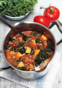 A pot of lovely Kale Soup with Spicy Chicken Sausage and Sweet Potato #glutenfree