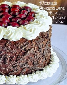 Double Chocolate Black Forest Cake - an extra chocolatey, luscious version of the classic dessert cake that& bound to melt the heart of the most fanatical chocoholic! Baking Recipes, Cake Recipes, Dessert Recipes, Cupcake Cakes, Cupcakes, Kolaci I Torte, Rock Recipes, Black Forest Cake, Chocolate Fudge Cake