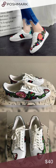 💫White Floral Sneakers 💫 White floral sneakers💫Synthetic Leather with stitched floral design 💫Round Toe💫Platform Look💫Size 8 true to size💫Like new condition (worn once)💫So cute on💫No flaws.💫Smoke and pet free home💫Ships same/next day💫 Shoes Sneakers