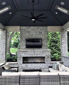 How's this for an outdoor tv room By. Outdoor Fireplace, Backyard Fireplace, Backyard Inspiration, Backyard Design, Patio Design, Outdoor Tv Room, Outdoor Living Rooms, Backyard Decor, Outdoor Fireplace Designs
