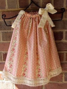 Items similar to Shabby Chic- Pink Rose Pillowcase Dress. Sizes Newborn to on Etsy Toddler Dress, Toddler Outfits, Kids Outfits, Little Girl Dresses, Girls Dresses, Lace Dresses, Baby Dress Patterns, Girl Fashion, Fashion Outfits