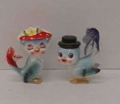 Vintage Anthropomorphic Blue Birds w/ Real Feathers H660 Salt and Pepper Shakers