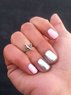 Try a pink and metallic manicure…and add a knuckle ring to top it all off. This mani is easy enough to DIY and the end result is so feminine. Don't worry if you accidentally smudge one nail…we've come up with the quickest fix to have your nails looking perfect again (click here to see it).