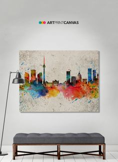Toronto print canvas print Toronto watercolor skyline Toronto Ontario distress print Wall canvas Home decor Travel print ArtPrintCanvas (14.00 EUR) by ArtPrintCanvas