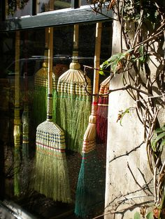 Witch Cottage: Window lined with brooms. Witch Cottage, Witch House, Wiccan, Magick, Witchcraft, Brooms And Brushes, Bali, Wonderful Day, Foto Transfer