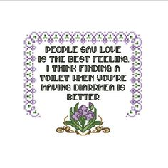 Modern Cross Stitch Pattern - Gag Gift - Funny Embroidery Quote - PDF Instant Download - Sick Love - Funny Meme - Subversive - Flower Border