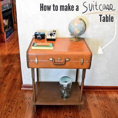 Vintage suitcase to end table: the sort of thing I'd think about making but never actually get around to. Cool, though!