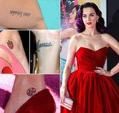 "Katy Perry tattoos, Jesus was her first tattoo the fruit and lollipop are from her tours, and the Sanskrit is a matching tattoo with ex Russell Brand, that means ""go with the flow"""