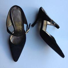 Ferragamo Black Velvet Mules with Rhinestone by BarbeeVintage, $39.00, love these heels! Women's vintage shoes footwear