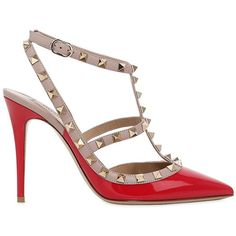 Valentino Women 100mm Rockstud Patent Leather Pumps (£705) ❤ liked on Polyvore featuring shoes, pumps, red, patent leather pumps, red pointy toe pumps, valentino pumps, valentino shoes and red pumps