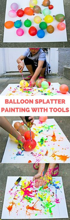 Balloon Splatter Painting with Tools. Fun summer outdoor art project for kid that results in beautiful abstract art!