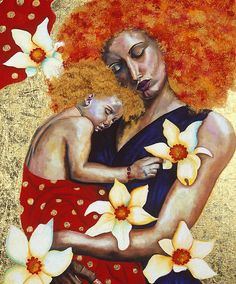 Mother and Child, 2003 (oil with gold leaf on board) by Dunne, Hilary (Contemporary Artist)PLEASE NOTE: The Bridgeman Art Library represents the copyright holder of this image and can arrange clearance. Painting For Kids, Art For Kids, Painting People, Natural Hair Art, Afro Art, Paintings I Love, Art Paintings, African American Art, Black Women Art
