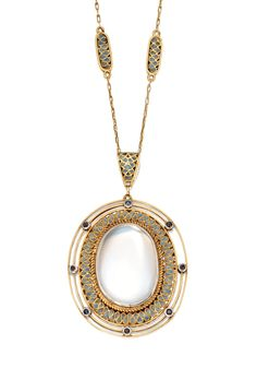 GOLD, MOONSTONE, PLIQUE-À-JOUR ENAMEL & SAPPHIRE PENDANT-NECKLACE, TIFFANY & CO., DESIGNED IN THE STUDIO OF LOUIS COMFORT TIFFANY, CIRCA 1915. The bezel-set oval cabochon measuring approx. 21.8 by 15.3 by 4.3 mm., within an openwork frame enhanced by plique-à-jour bluish-grey enamel, accented by round sapphires, supported on a bluish-grey plique-à-jour enamel pendant bail, completed by a fancy link gold chain accented by bluish-grey plique-à-jour enamel, length 19 inches, signed Tiffany…