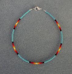 Blu Turquoise Sunburst Beaded Anklet Ankle Bracelet All