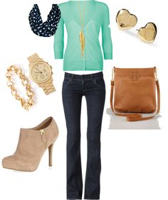 mint cardigan blue/white scarf casual outfit Spring accessorizing is very important for Your Personal Brand! Island Heat Products www.islandheat.com today's clothing Fashions and Home Goods with Great Family Gift Idea's.