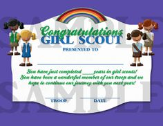 Girl Scouts End of Year Certificate