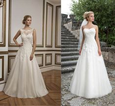 A-line is a very popular wedding dress style and is flattering on pear shaped brides