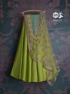 Grass green lehenga with light blue blouse Half Saree Lehenga, Lehenga Saree Design, Green Lehenga, Lehnga Dress, Lehenga Blouse, Indian Lehenga, Lehenga Designs, Black Anarkali, Banarasi Lehenga