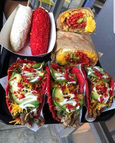 Tacos in hot cheetos tortillas burrito with hot cheetos corn on a stick with hot cheetos! lol Any hot cheetos lovers? Food Recipes Shared by Carla Mexican Snacks, Mexican Food Recipes, I Love Food, Good Food, Yummy Food, Healthy Food, Sleepover Food, Junk Food Snacks, Food Menu