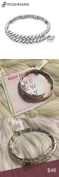 Alex and Ani Nature's Weave Wrap Bangle Brand new, never worn Alex and Ani Nature's Weave Wrap in Rafaelian Silver Finish. Comes with card and box. Retired bangle! Alex & Ani Jewelry Bracelets