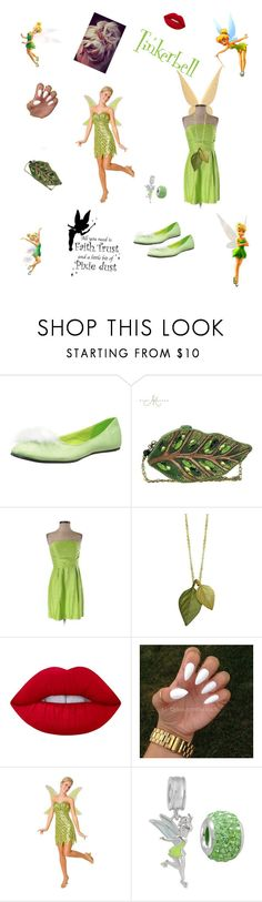 """""""tinkerbell"""" by friday-morning ❤ liked on Polyvore featuring Disney, Ellie Shoes, Mary Frances Accessories, Shoshanna, Michael Michaud, Lime Crime and Buy Seasons"""