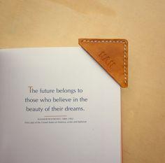 English Bridle, please - Personalized Monogram Leather Bookmark Corner by VantlerLeather