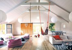 *outdoor hammock* A Millbrook Farmhouse Gets Tricked Out for Living - New York Cottages & Gardens - March 2014 - New York, NY Modern Playroom, Hangout Room, Warehouse Design, Barn Renovation, Cozy Cottage, Kid Spaces, Game Room, Decoration, Living Area