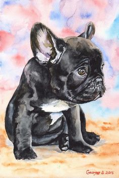Check out our original french bulldog selection for the very best in unique or custom, handmade pieces from our shops. French Bulldog Drawing, Grey French Bulldog, French Bulldog Puppies, French Bulldogs, Animal Sketches, Animal Drawings, Animal Nursery, Animal Paintings, Cross Paintings