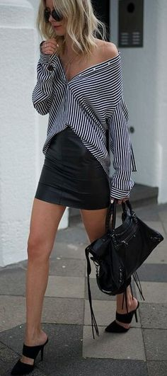 (1199) Striped shirt, mini leather skirt, heels and Balenciaga bag | Fashion - Street Style | Pinterest | Indie Fashion, Balenciaga Bag and Stripes #striped