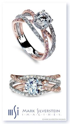 """Paradise Ring: A provocative 18K white and rose gold """"cord of three strands united"""" creates a lively and memorable engagement ring. The split shank crossover design features four pink and white diamond pavé-set bands in a fusion of warmth and austerity. Mark Silverstein Imagines"""