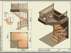 Construction drawing Source by dmikecheng Spiral Staircase Plan, Stair Plan, Small Staircase, Wooden Staircases, Wooden Stairs, Stairways, Loft Stairs, House Stairs, Home Stairs Design