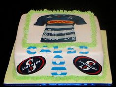 Stormers (Western Province SA team) cake for Caleb's birthday :) 9th Birthday Parties, 8th Birthday, Birthday Cakes, Rugby Cake, Photo Cakes, Party, Desserts, Kids, Food