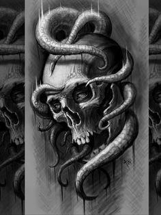 Evil Skull Tattoo, Skull Tattoos, Black Tattoos, Sketch Tattoo Design, Skull Tattoo Design, Tattoo Designs Men, Skull Artwork, Cool Artwork, Mago Tattoo