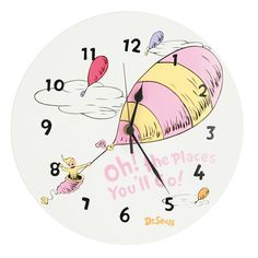 Dr. Seuss's Oh! the Places You'll Go! Wall Clock by Trend Lab - Pink, Multicolor