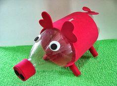 Piggy safe made with pet bottle Milk Jug Crafts, Tin Can Crafts, Fun Crafts, Crafts For Kids, Holiday Crafts, Home Crafts, Recycled Crafts Kids, Pinterest Crafts, Bottle Cap Crafts