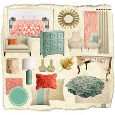 Teal, Coral, & Gold, created by nlaspina on Polyvore--- add in navy and these are my colors for my living room!