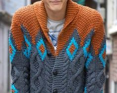 Men's hand knit cardigan turtleneck sweater by BANDofTAILORS