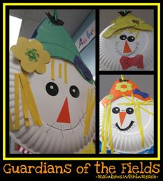 Fall Craftivity for Kindergarten making Scarecrows via RainbowsWithinReach.maybe for teaching shapes