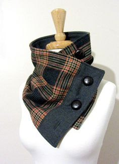 Neck Warmer--made from recycled wool fabric and backed with fleece